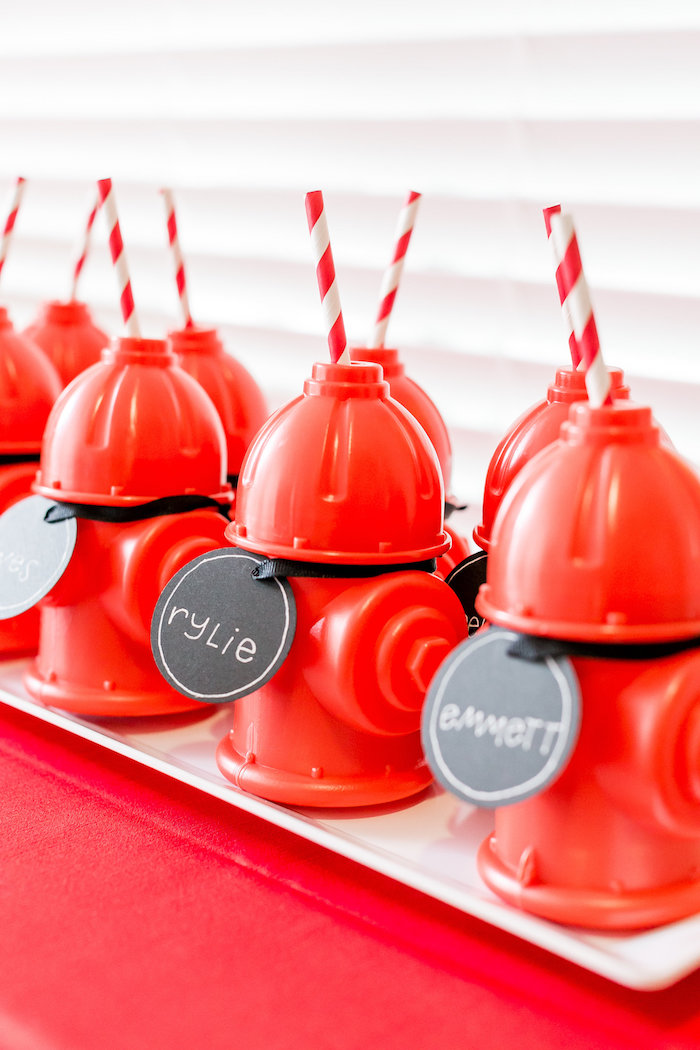 Fire Hydrant Cups from a Firetruck Birthday Party on Kara's Party Ideas | KarasPartyIdeas.com (10)