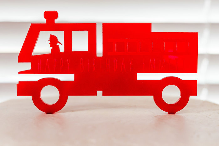 Fire Truck Cake Topper from a Firetruck Birthday Party on Kara's Party Ideas | KarasPartyIdeas.com (9)