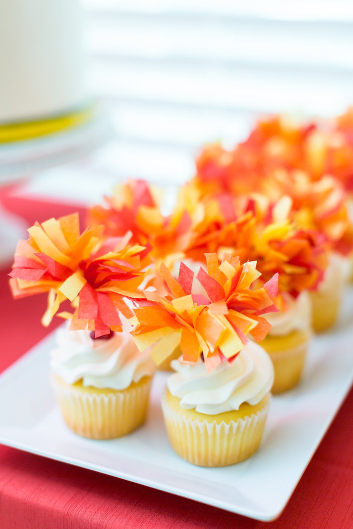 Fire Pom Cupcakes from a Firetruck Birthday Party on Kara's Party Ideas | KarasPartyIdeas.com (25)