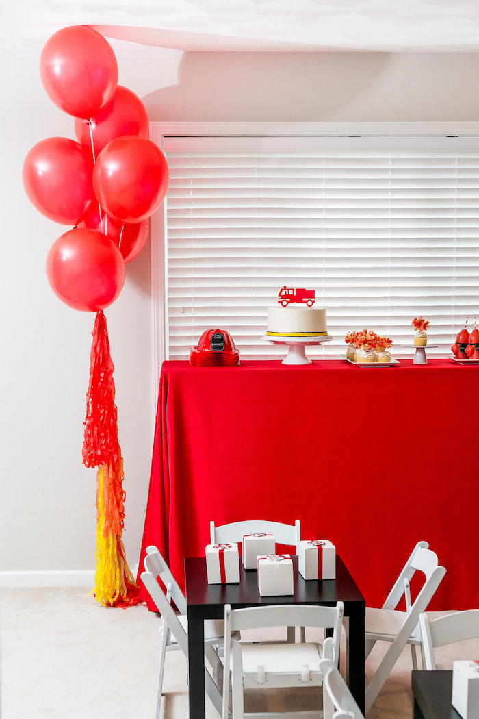Party Tables from a Firetruck Birthday Party on Kara's Party Ideas | KarasPartyIdeas.com (6)
