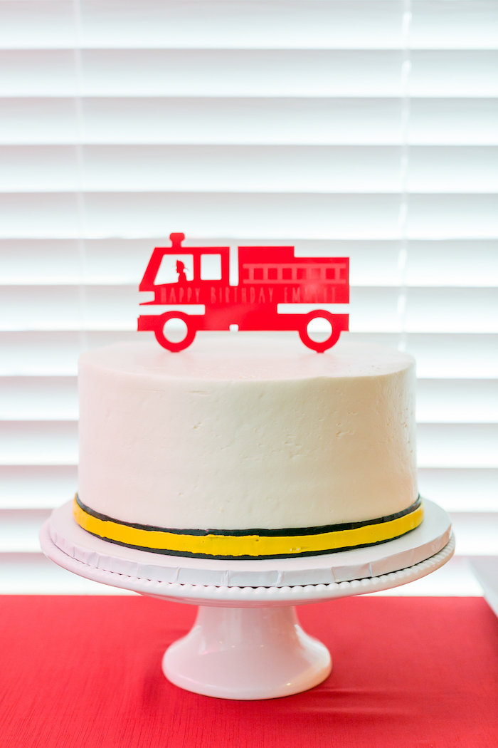 Firetruck Cake from a Firetruck Birthday Party on Kara's Party Ideas | KarasPartyIdeas.com (23)
