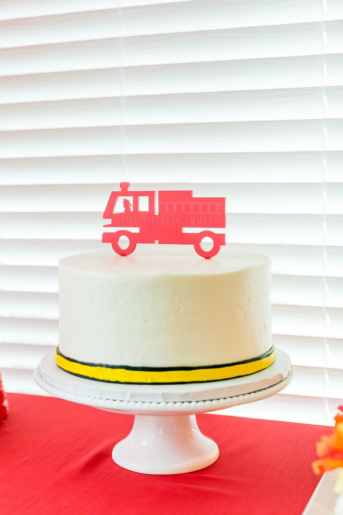 Firetruck Cake from a Firetruck Birthday Party on Kara's Party Ideas | KarasPartyIdeas.com (21)