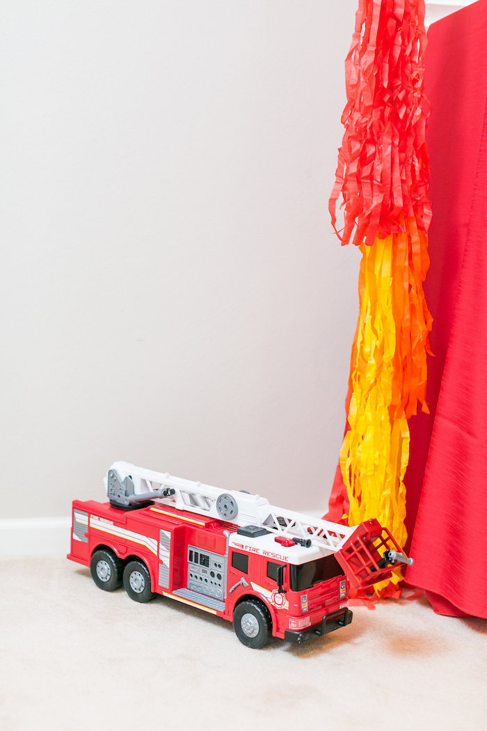 Firetruck from a Firetruck Birthday Party on Kara's Party Ideas | KarasPartyIdeas.com (17)