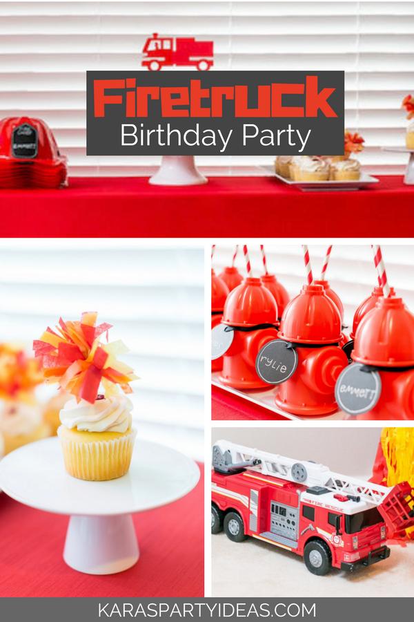 Firetruck Birthday Party via KarasPartyIdeas - KarasPartyIdeas.com