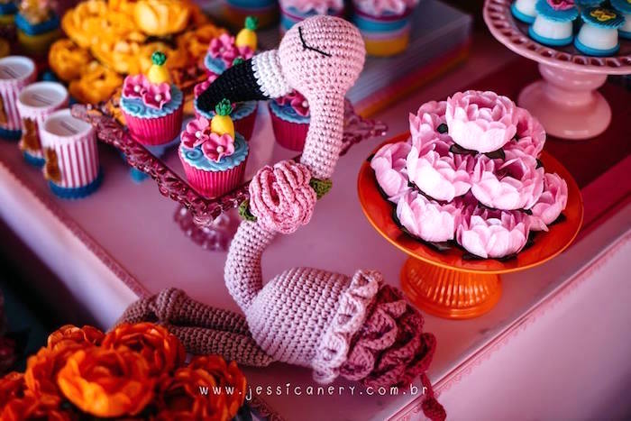 Crocheted Flamingo from a Flamingo Pool Party on Kara's Party Ideas | KarasPartyIdeas.com (20)