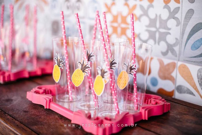 Pineapple Cups from a Flamingo Pool Party on Kara's Party Ideas | KarasPartyIdeas.com (18)