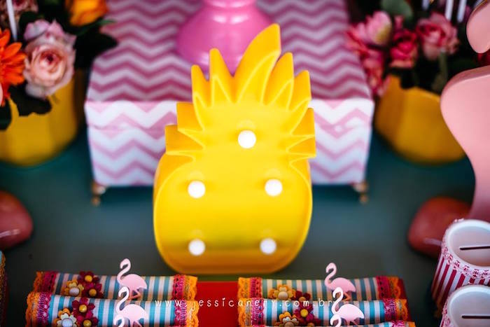 Pineapple Marquee Light from a Flamingo Pool Party on Kara's Party Ideas | KarasPartyIdeas.com (15)