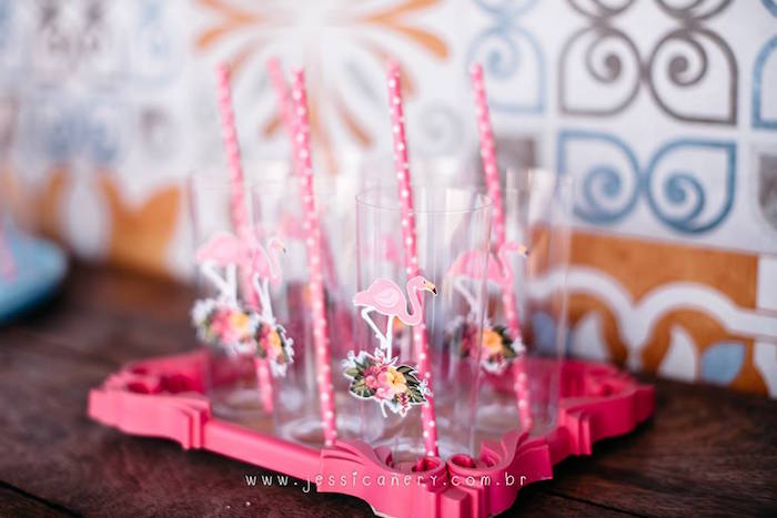 Flamingo Cups from a Flamingo Pool Party on Kara's Party Ideas | KarasPartyIdeas.com (13)
