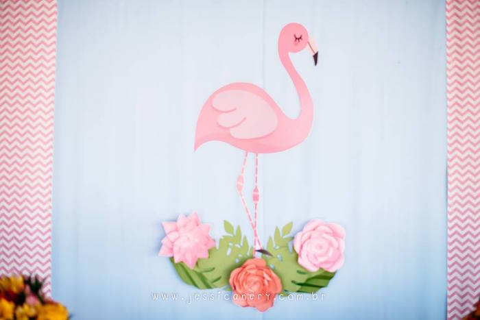 Flamingo Backdrop from a Flamingo Pool Party on Kara's Party Ideas | KarasPartyIdeas.com (11)