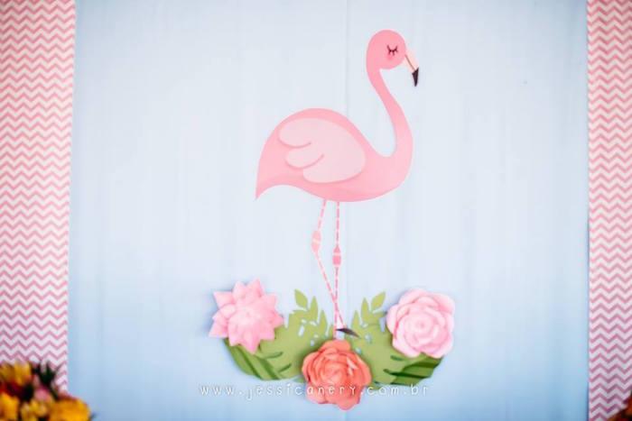 Flamingo Backdrop from a Flamingo Pool Party on Kara's Party Ideas | KarasPartyIdeas.com (11)