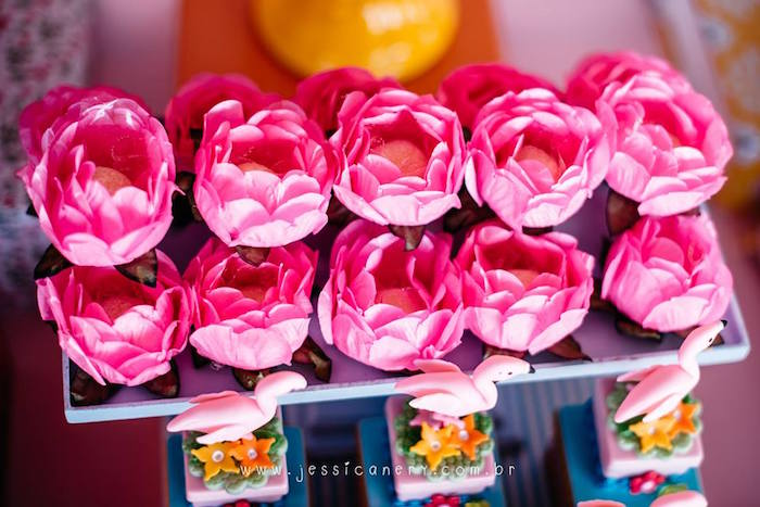 Flower Sweets from a Flamingo Pool Party on Kara's Party Ideas | KarasPartyIdeas.com (10)