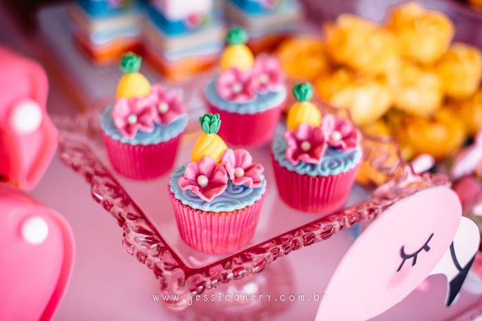 Tropical Cupcakes from a Flamingo Pool Party on Kara's Party Ideas | KarasPartyIdeas.com (30)