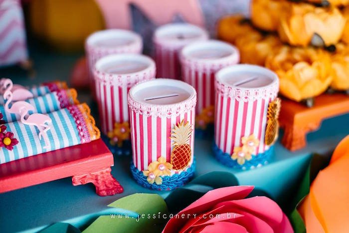 Tropical Favor Banks from a Flamingo Pool Party on Kara's Party Ideas | KarasPartyIdeas.com (27)