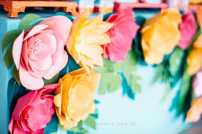 Paper Flowers from a Flamingo Pool Party on Kara's Party Ideas | KarasPartyIdeas.com (26)