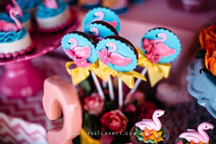 Chocolate Flamingo Lollipops from a Flamingo Pool Party on Kara's Party Ideas | KarasPartyIdeas.com (24)