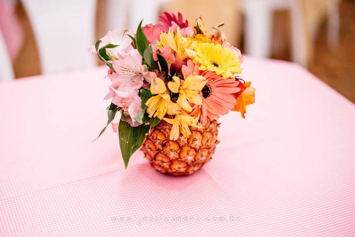 Pineapple Floral Arrangement from a Flamingo Pool Party on Kara's Party Ideas | KarasPartyIdeas.com (23)