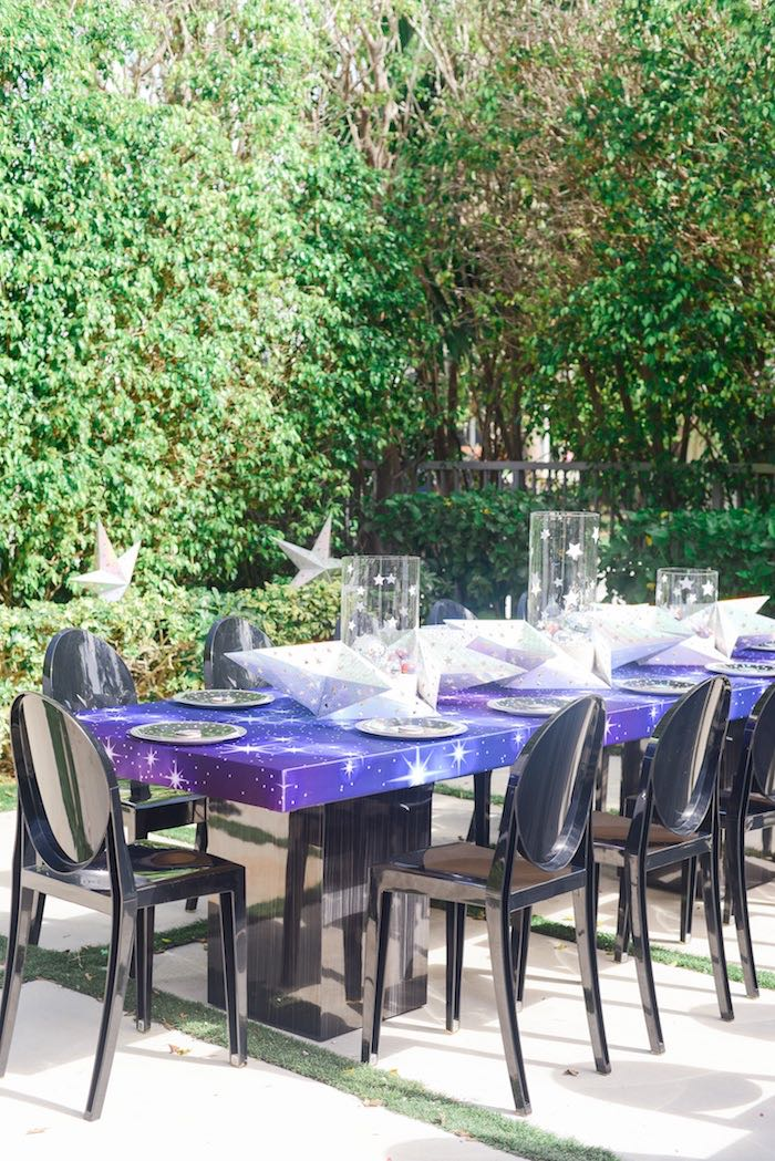 "Galactic Dining Table from a Galactic ""Out of this World"" Birthday Party on Kara's Party Ideas 