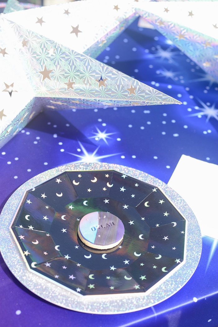 "Galactic Table Setting from a Galactic ""Out of this World"" Birthday Party on Kara's Party Ideas 