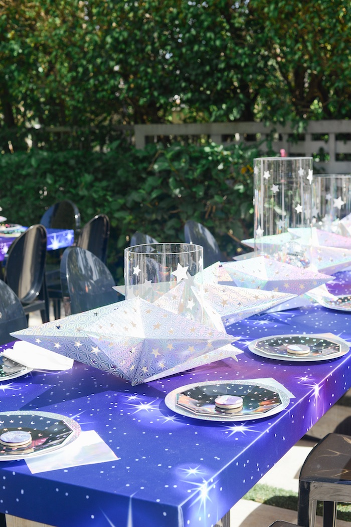 "Galactic Space Themed Dining Table from a Galactic ""Out of this World"" Birthday Party on Kara's Party Ideas 