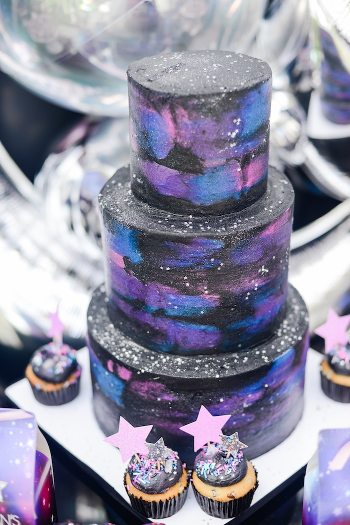 "Galactic Space Cake from a Galactic ""Out of this World"" Birthday Party on Kara's Party Ideas 
