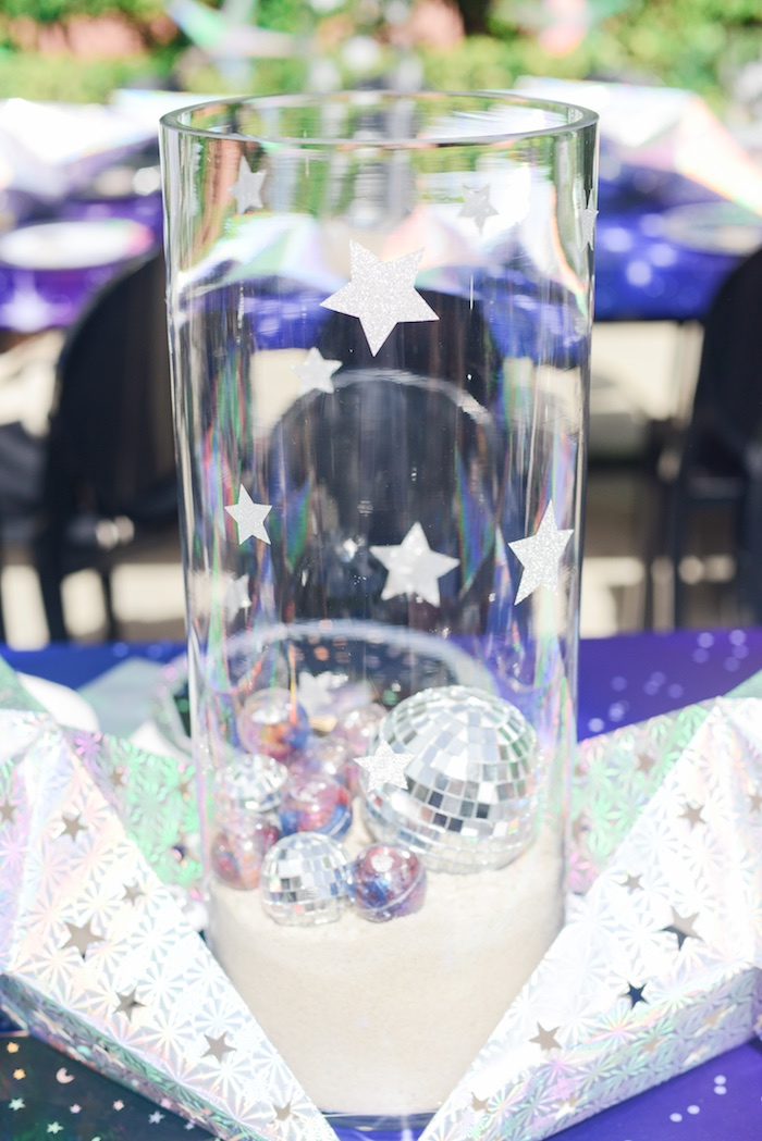 "Space Themed Table Centerpiece from a Galactic ""Out of this World"" Birthday Party on Kara's Party Ideas 