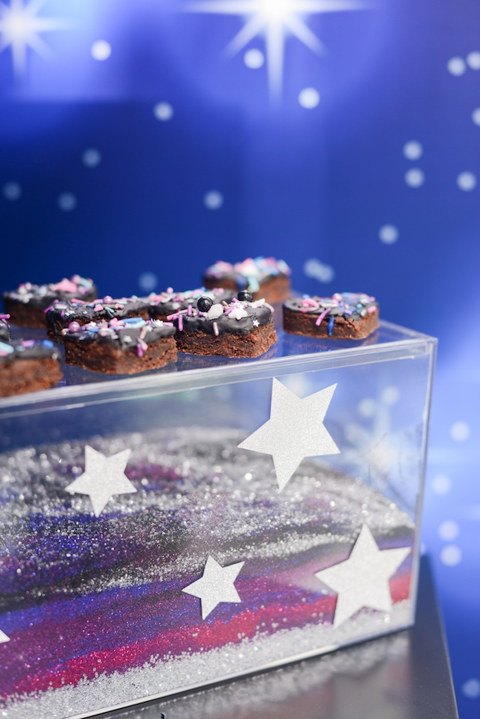 "Galactic Brownies from a Galactic ""Out of this World"" Birthday Party on Kara's Party Ideas 