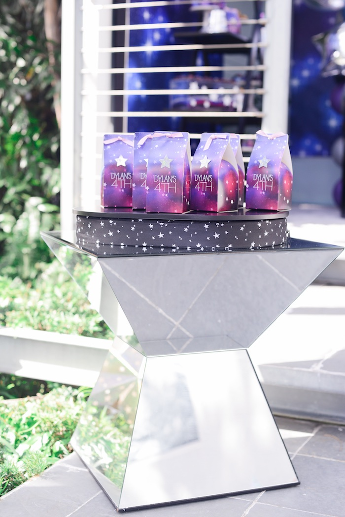 "Mirrored Pedestal Table from a Galactic ""Out of this World"" Birthday Party on Kara's Party Ideas 