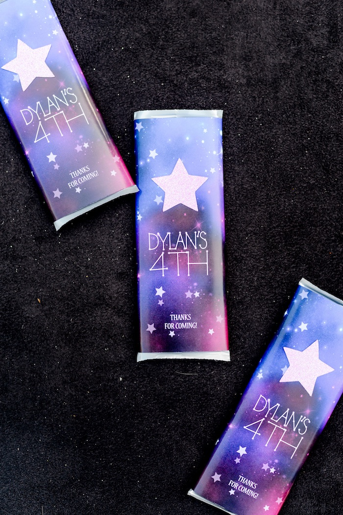 "Custom Space Themed Candy Bars from a Galactic ""Out of this World"" Birthday Party on Kara's Party Ideas 