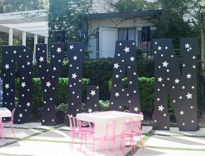 "Giant Galaxy Letters from a Galactic ""Out of this World"" Birthday Party on Kara's Party Ideas 