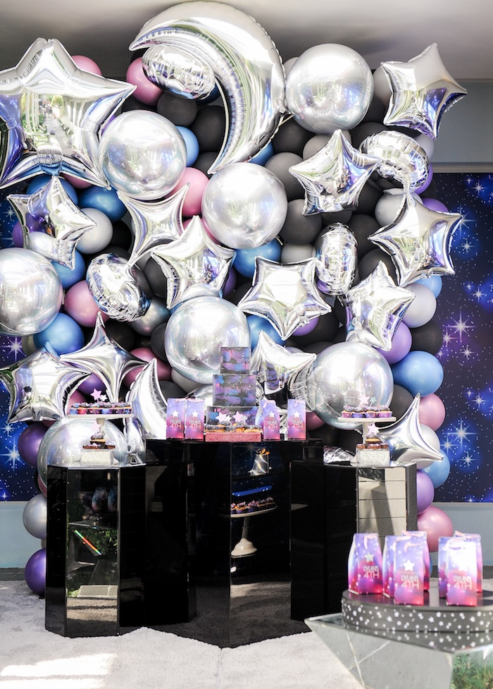 "Galaxy Dessert Table from a Galactic ""Out of this World"" Birthday Party on Kara's Party Ideas 