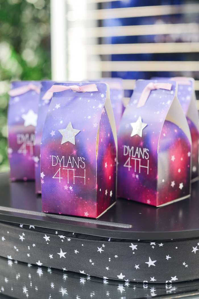 "Galaxy Favor Bags from a Galactic ""Out of this World"" Birthday Party on Kara's Party Ideas 