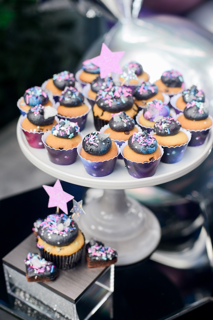 "Galactic Cupcakes from a Galactic ""Out of this World"" Birthday Party on Kara's Party Ideas 