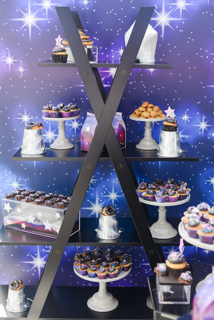 "Galactic Ladder Dessert Shelf from a Galactic ""Out of this World"" Birthday Party on Kara's Party Ideas 