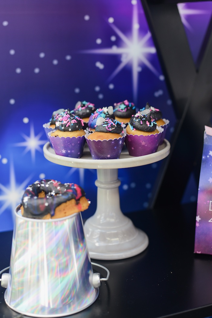 "Dessert Pedestals from a Galactic ""Out of this World"" Birthday Party on Kara's Party Ideas 