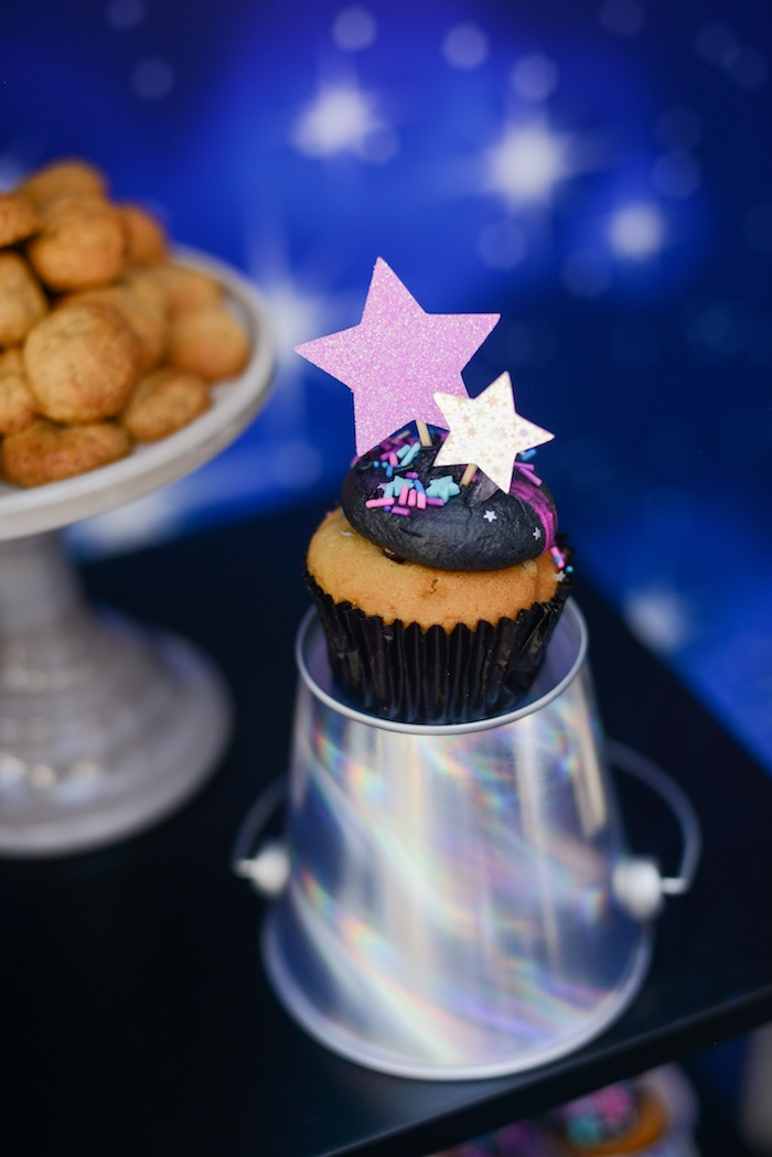 "Star-studded Space Cupcake from a Galactic ""Out of this World"" Birthday Party on Kara's Party Ideas 