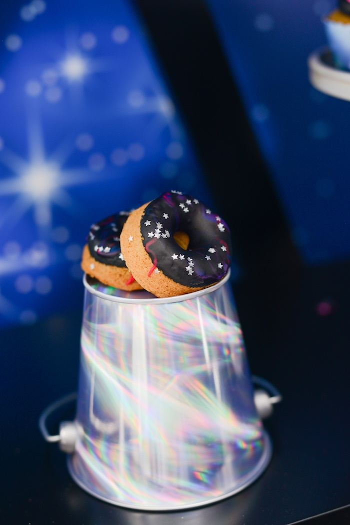 "Galaxy Doughnuts from a Galactic ""Out of this World"" Birthday Party on Kara's Party Ideas 