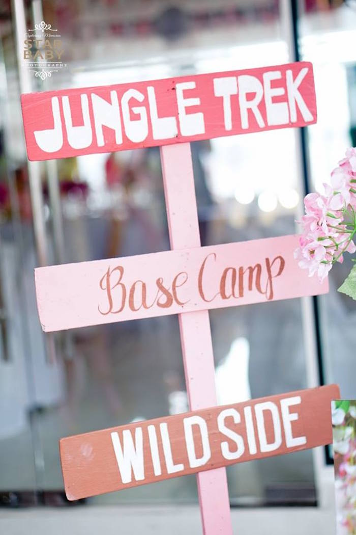 Wooden Pink Sign from a Girly Safari Party on Kara's Party Ideas | KarasPartyIdeas.com (26)