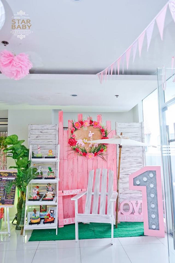 Pink Safari Lounge from a Girly Safari Party on Kara's Party Ideas | KarasPartyIdeas.com (25)
