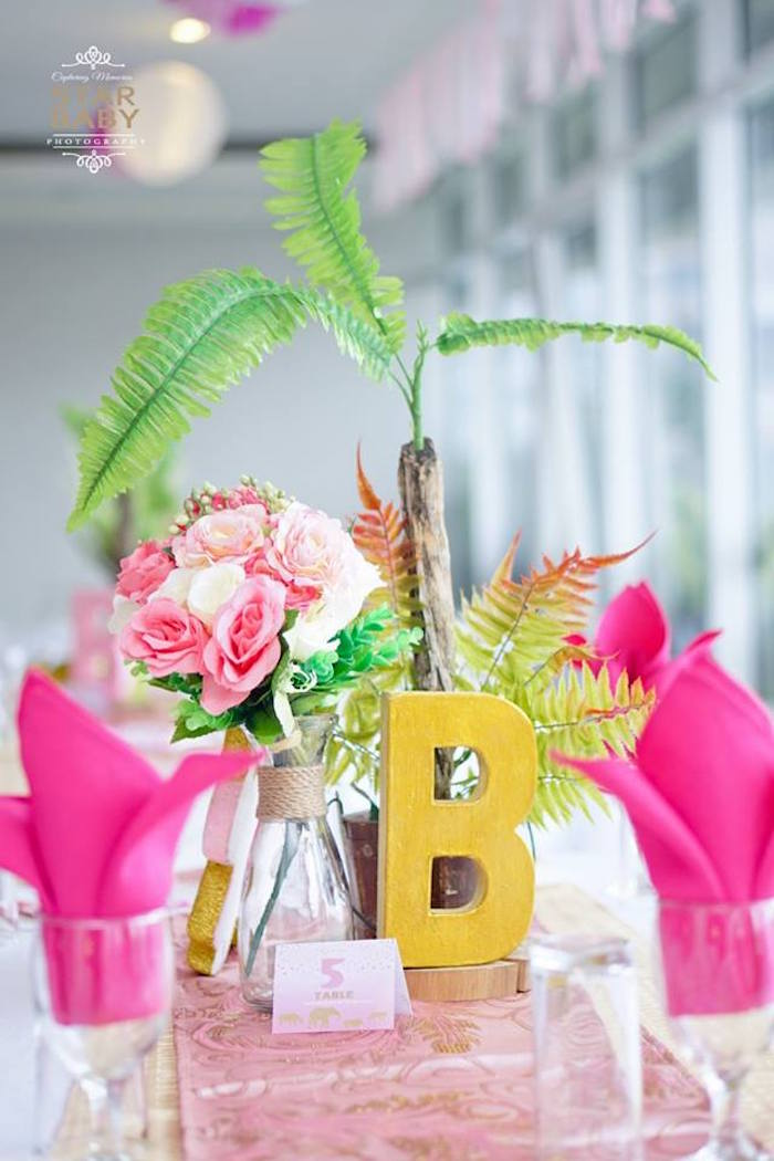 Safari Table Centerpiece from a Girly Safari Party on Kara's Party Ideas | KarasPartyIdeas.com (18)