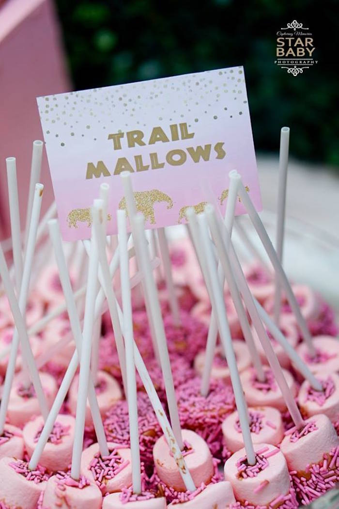 Pink Trail Mallows from a Girly Safari Party on Kara's Party Ideas | KarasPartyIdeas.com (16)