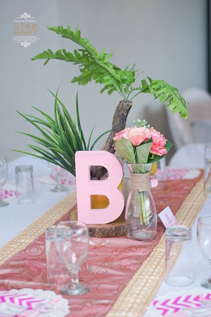 Jungle Table Centerpiece from a Girly Safari Party on Kara's Party Ideas | KarasPartyIdeas.com (31)