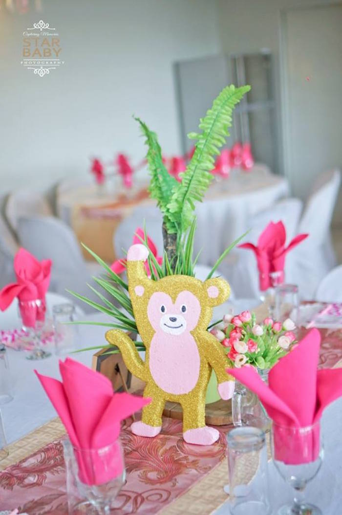Glam Monkey Table Centerpiece from a Girly Safari Party on Kara's Party Ideas | KarasPartyIdeas.com (28)