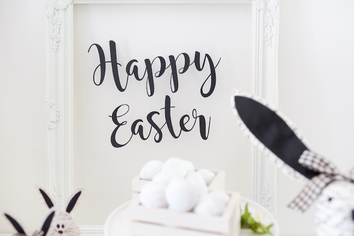 Happy Easter Signage from a Monochromatic Easter Party via Kara's Party Ideas | KarasPartyIdeas.com
