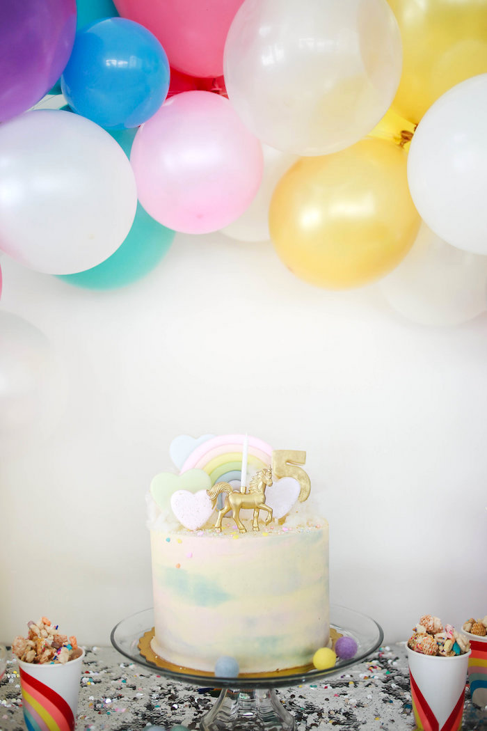 Rainbow Glam Watercolor Cake from a Heart of Gold Birthday Party on Kara's Party Ideas | KarasPartyIdeas.com (9)