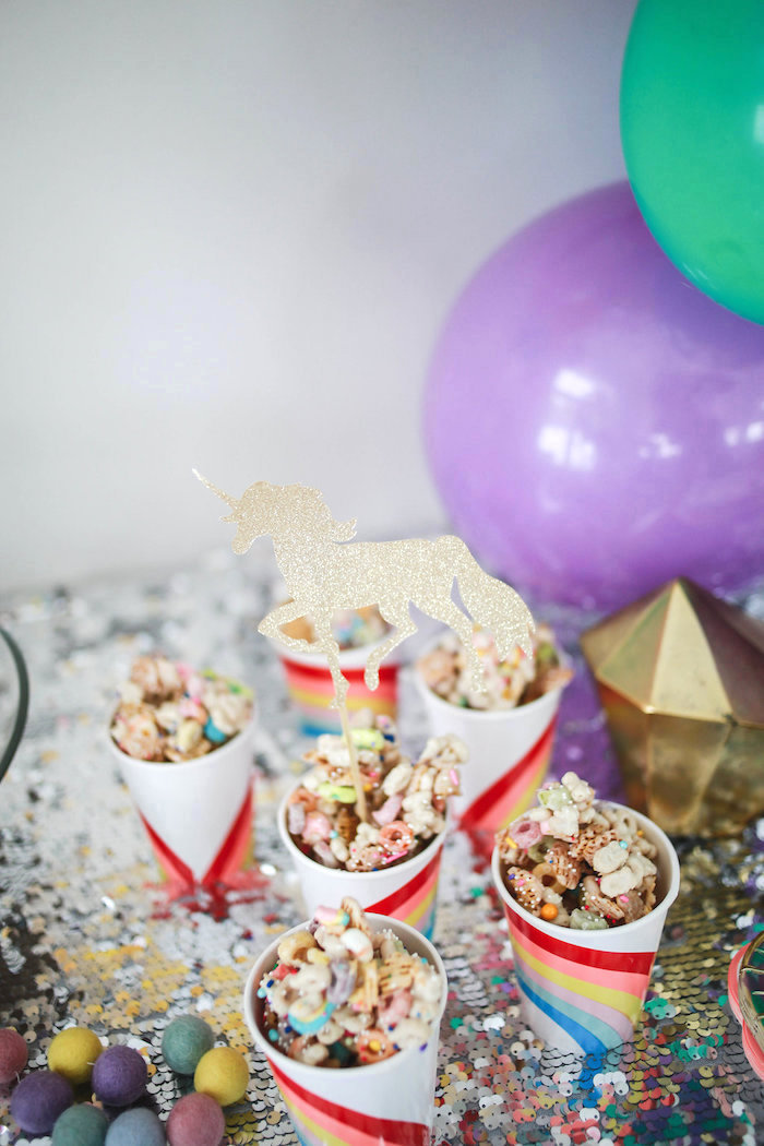 Rainbow Snack Cups from a Heart of Gold Birthday Party on Kara's Party Ideas | KarasPartyIdeas.com (20)