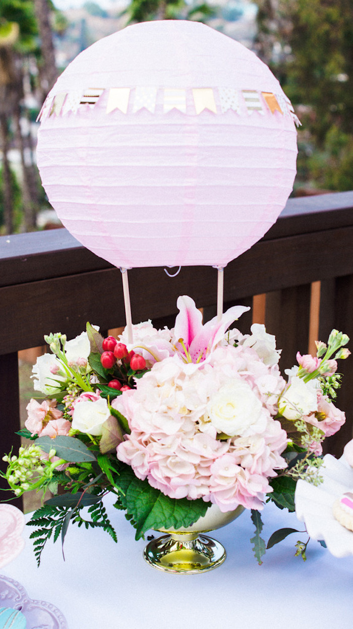 Hot Air Balloon Floral Centerpiece from a Hot Air Balloon Birthday Party on Kara's Party Ideas | KarasPartyIdeas.com (10)