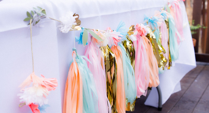 Gold Accented Tassel Garland from a Hot Air Balloon Birthday Party on Kara's Party Ideas | KarasPartyIdeas.com (7)