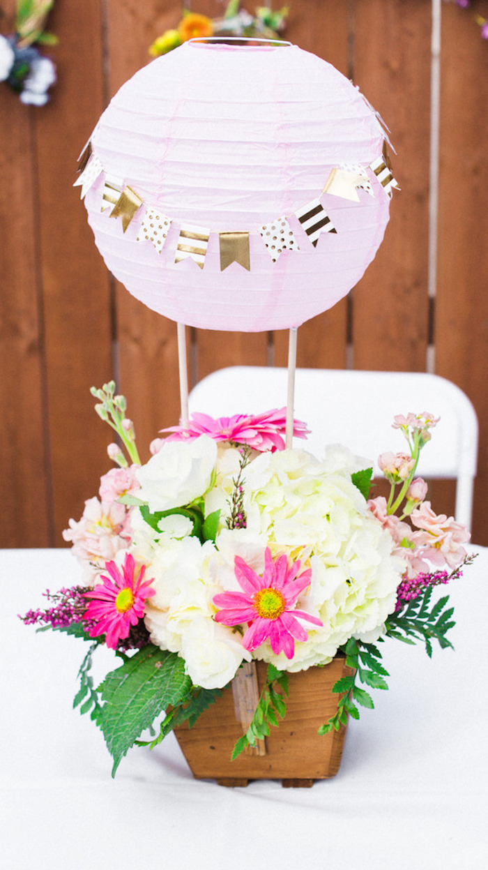 Hot Air Balloon Floral Arrangement + Centerpiece from a Hot Air Balloon Birthday Party on Kara's Party Ideas | KarasPartyIdeas.com (5)
