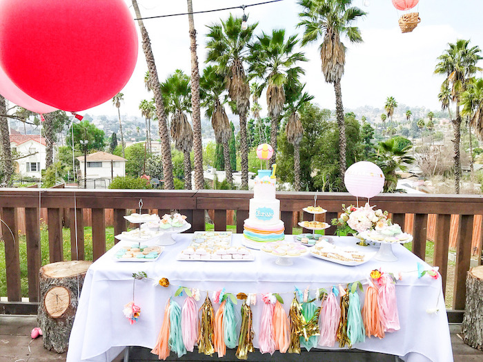Gorgeous Hot Air Balloon Themed Dessert Table on Kara's Party Ideas | KarasPartyIdeas.com