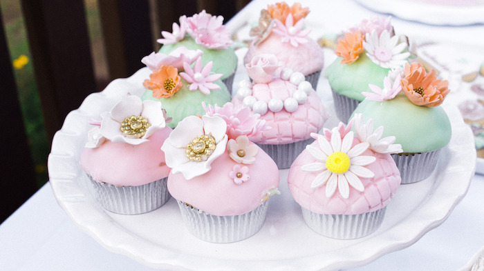 Flower Themed Cupcakes from a Hot Air Balloon Birthday Party on Kara's Party Ideas | KarasPartyIdeas.com (13)